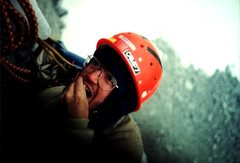 Rock Climbing Photo: Mark Leonard at the top of the 5th pitch of Pipeli...
