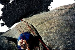Rock Climbing Photo: Looking down classic Pitch Five of Pipeline.