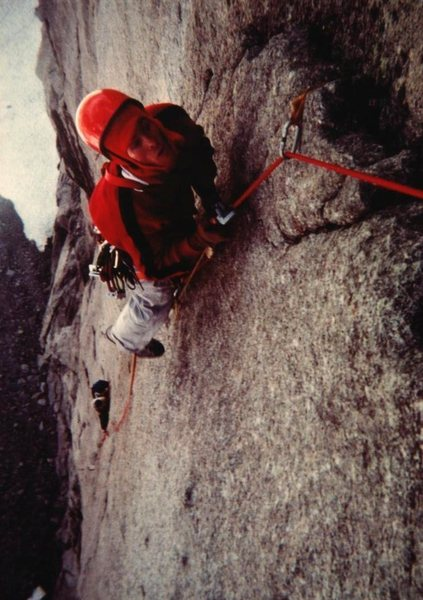 Mark Dalen jumaring to belay at the top of Pitch Four, Pipeline, Wind Rivers, 1978 (Dave Baltz in hammock below).