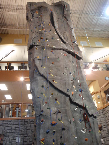 Climbing wall at WC/WC (Currently 2 routes have auto-belays, 4 w/ ropes)