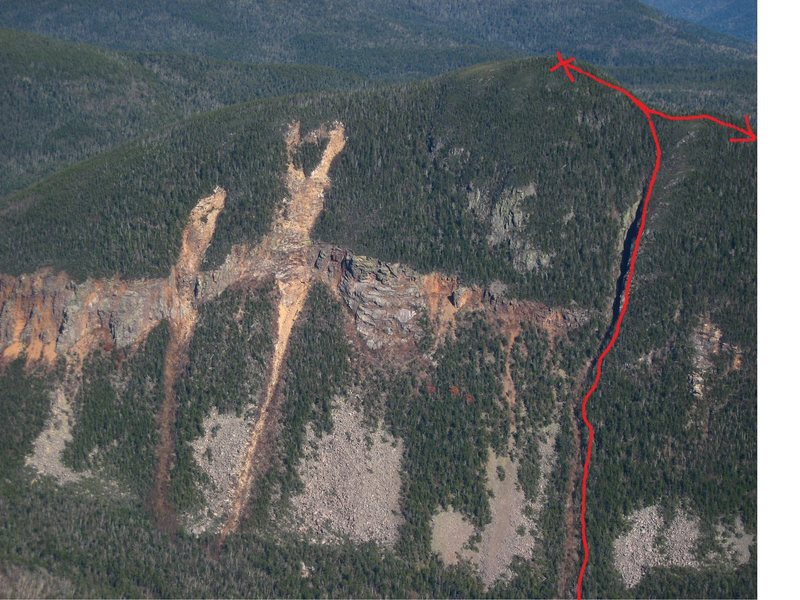 Rock Climbing Photo: west face of Lowell, the Chute in red