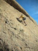 """Rock Climbing Photo: Moving up the lower slab on """"Yellow Rose of T..."""