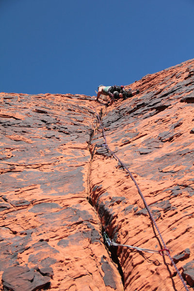 Rock Climbing Photo: Crack on pitch 1.