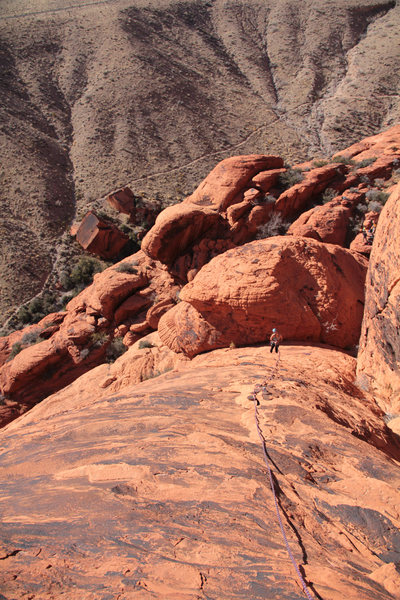 Looking down on pitch 2, just before the obvious crack.