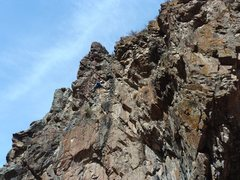 Rock Climbing Photo: Overhanging section near the top.