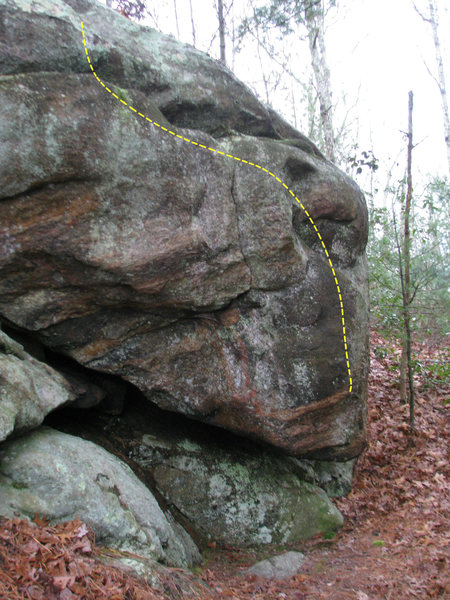 Rock Climbing Photo: The Hideaway - Sit start under the point of the ov...