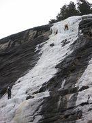 Rock Climbing Photo: 29-December-2009: Steve Larson leading crux pitch,...