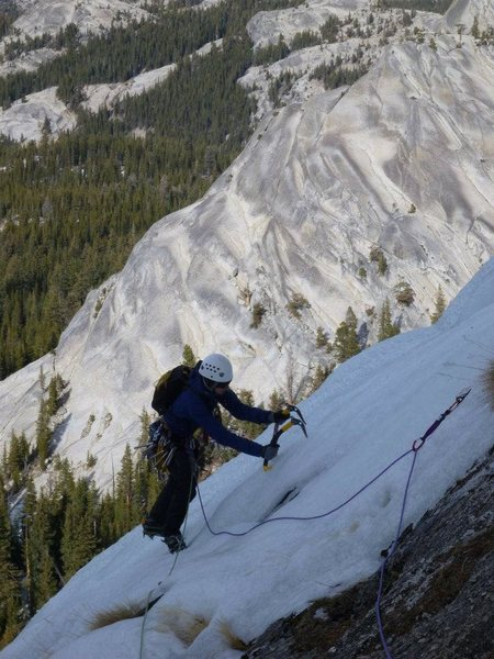 29-December-2011: Me traversing towards the rap station just right of the route's topout.  Pic by Steve Larson