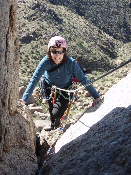 Suzanne finishing the second pitch of 'West Face'