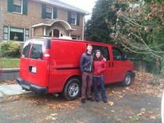 Big red van.