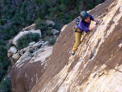 Rock Climbing Photo: Nearing the end of the second pitch. The crux good...