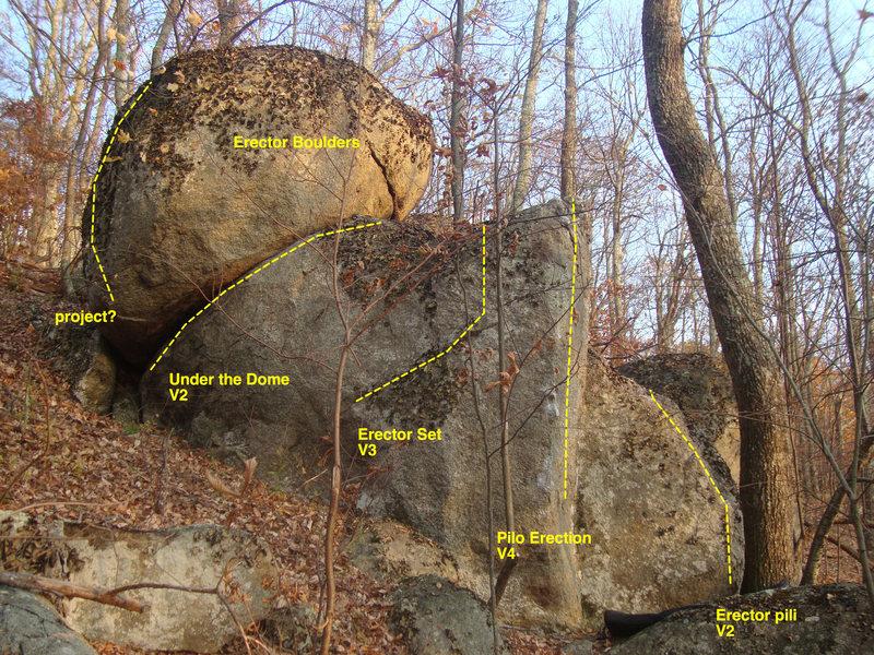 erector boulder Pilo is V4-V6 depending on how you choose to do it.