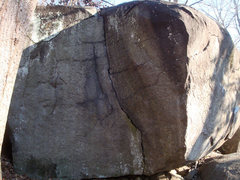 Rock Climbing Photo: Juggernaut is the finger crack in the middle