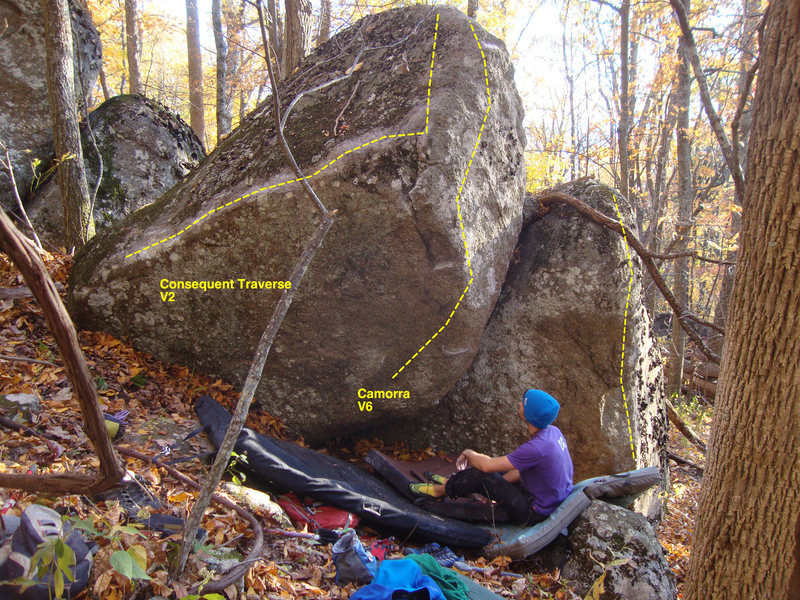Rock Climbing Photo: Yellow line on far right.
