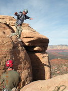 Rock Climbing Photo: Rick LeGrand making the leap of faith on New Year'...