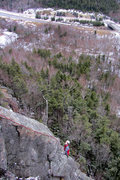 Rock Climbing Photo: kevin on the upper part of right side route (varia...