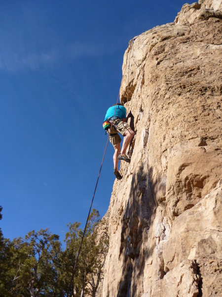 Rock Climbing Photo: Last few moves of the route.
