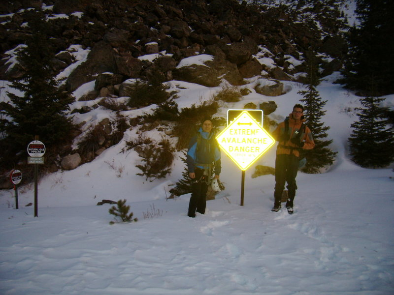 Jordon Griffler and Ty looking for any signs of danger.  Ten Mile Canyon.  Colorado. New Years Day 2012.