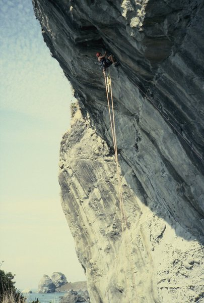 Rock Climbing Photo: Just under the roof with Footsteps in the backgrou...