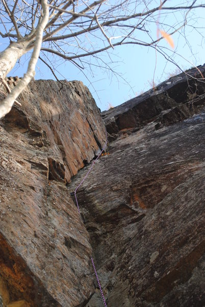 Awesome layback leading to a vertical crack.