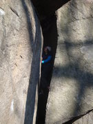 Rock Climbing Photo: Abbie on her first trip to GS, braving the squeeze