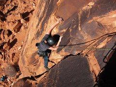 Rock Climbing Photo: Mateo topping out Brewed Awakenings