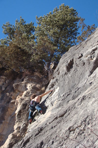 Rock Climbing Photo: Brian Stampe walking up Lost Ninja.  And yes, it i...