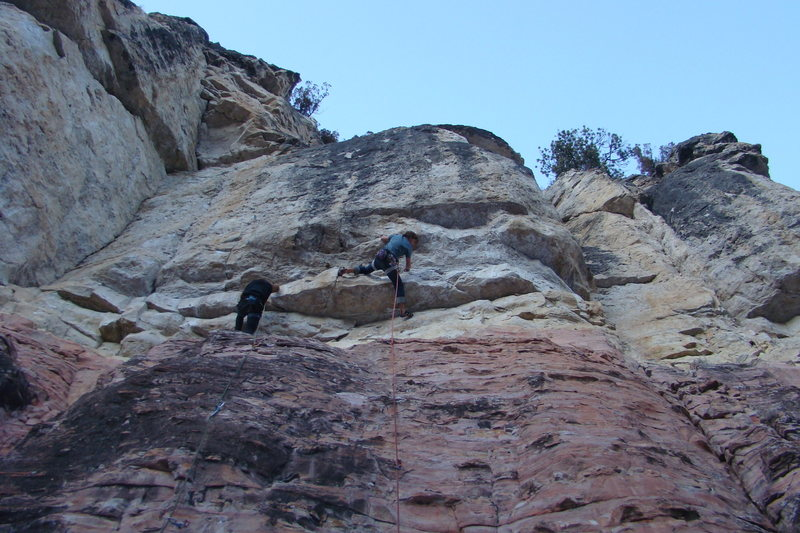 Climber on the right is taking down Twin Pipe Poppa, 5.12a