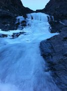 Rock Climbing Photo: The first ice pitch (ice crux) on Coire Dubh Integ...