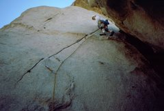 Rock Climbing Photo: Lacing it up on the start of High Strung, 1989