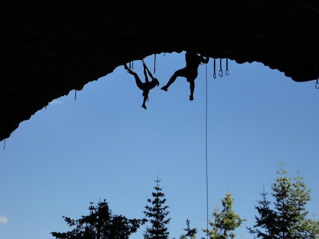 Climbers at top of Pipe Dream, Maple Canyon, UT