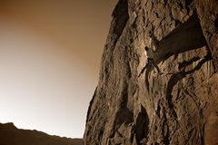 Rock Climbing Photo: Nate snatching the jug above the crux roof. Decemb...