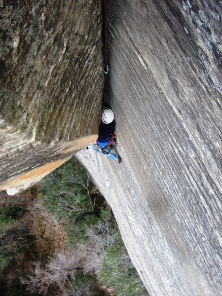Phil finishing the second pitch V-slot<br> March 2011