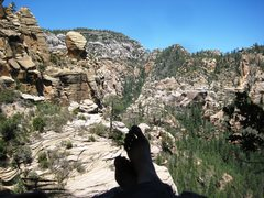 Rock Climbing Photo: my wife kickin' back on picnic ledge at the end of...