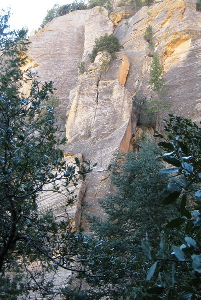 the Serial Pillar, featuring pitch 4 splitter crack of Engagement(center of photo), and peak of second half of the Pitch of Despair (pitch 3).