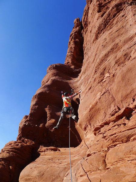 Rock Climbing Photo: Daniel leading P1