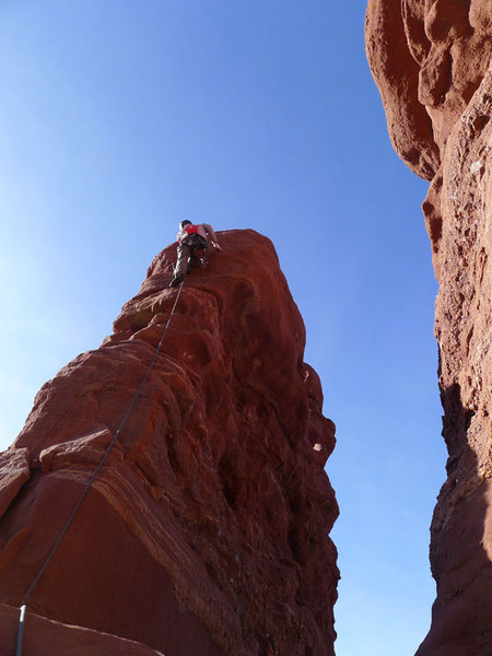 Rock Climbing Photo: Daniel leading P3