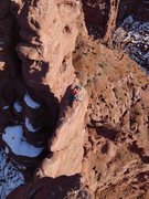 Rock Climbing Photo: Daniel at the P3 belay with the catwalk just beyon...