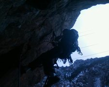 Rock Climbing Photo: starting up on a cold winter day.  this route is q...