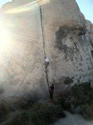 Rock Climbing Photo: Me leading as the sun sets
