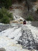 Rock Climbing Photo: Madi at what could be the crux of the pitch, commi...