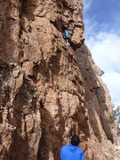 Rock Climbing Photo: Abby leading up BR2, a filthy and dangerous yet fu...