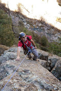 Rock Climbing Photo: Romain nears the top of the second pitch of Bee Li...