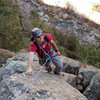 Romain nears the top of the second pitch of Bee Line, at Sespe Gorge.