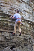 Rock Climbing Photo: The underhand jug that makes the crux super easy