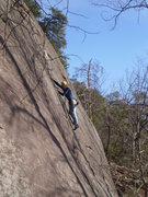Rock Climbing Photo: Tim making the delicate moves at the right of the ...