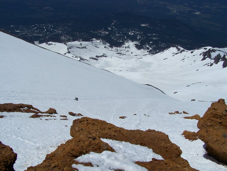 Looking down towards Lake Helen from the Red Banks.  Unknown climbers descending...