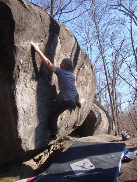Rock Climbing Photo: Chet moving toward the business on Jugarete Traver...