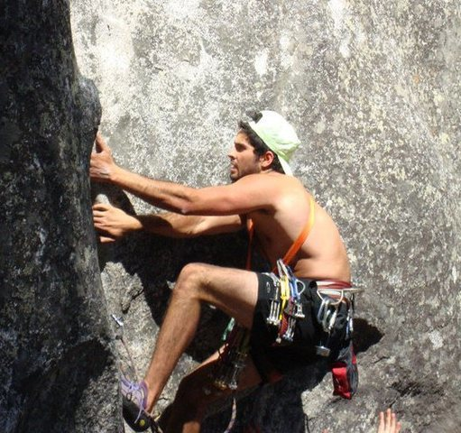 Rock Climbing Photo: Climbing by Camp 4 in Yosemite. My first trad lead...