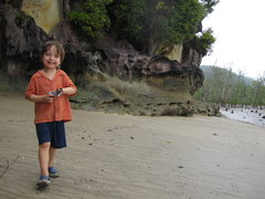 Rock Climbing Photo: Kiran hanging out near some sandstone cliffs. Noti...